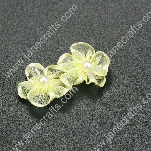 "30pcs 1 1/4"" Sheer Ribbon Flower with Bead Center Baby Maize"