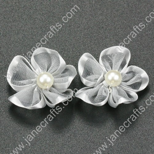 "30pcs 1 1/4"" Sheer Ribbon Flower with Bead Center Silver"
