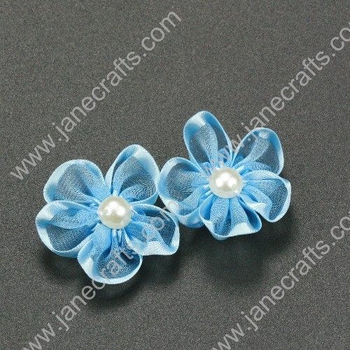 "30pcs 1 1/4"" Sheer Ribbon Flower with Bead Center Lt.Blue"