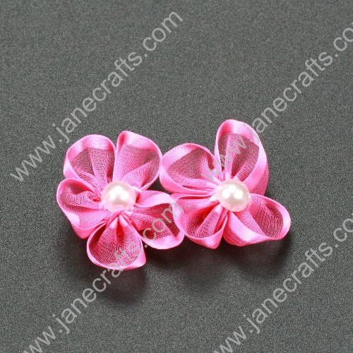 "30pcs 1 1/4"" Sheer Ribbon Flower with Bead Center Hot Pink"