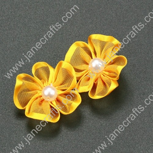 "30pcs 1 1/4"" Sheer Ribbon Flower with Bead Center Yellow Gold"