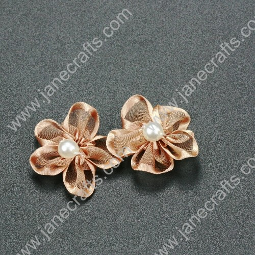 "30pcs 1 1/4"" Sheer Ribbon Flower with Bead Center Tan"