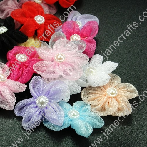 120pcs 60mm Five Petals Sheer Ribbon Rose in Mixed Colors