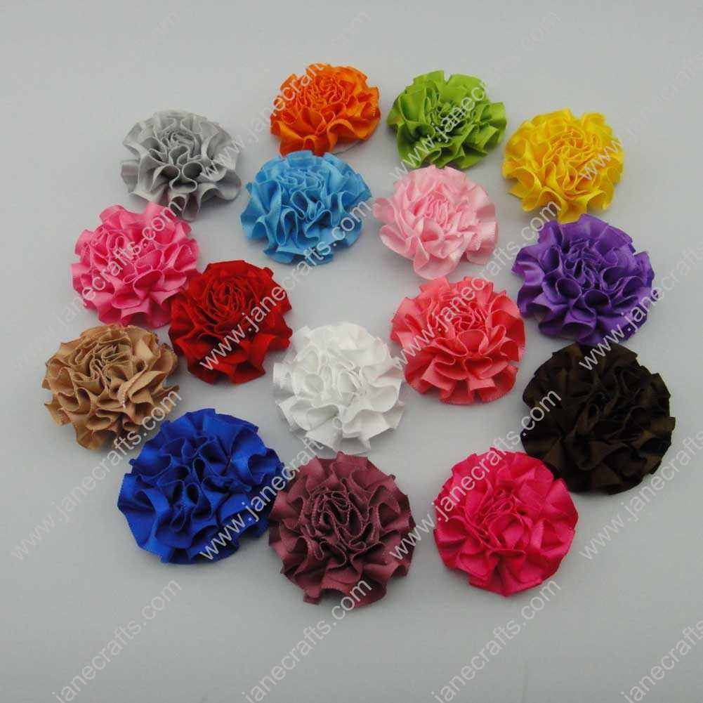 50pcs 2 inch Cabbage Satin Fabric Puff Flowers for Headband-Assorted Color
