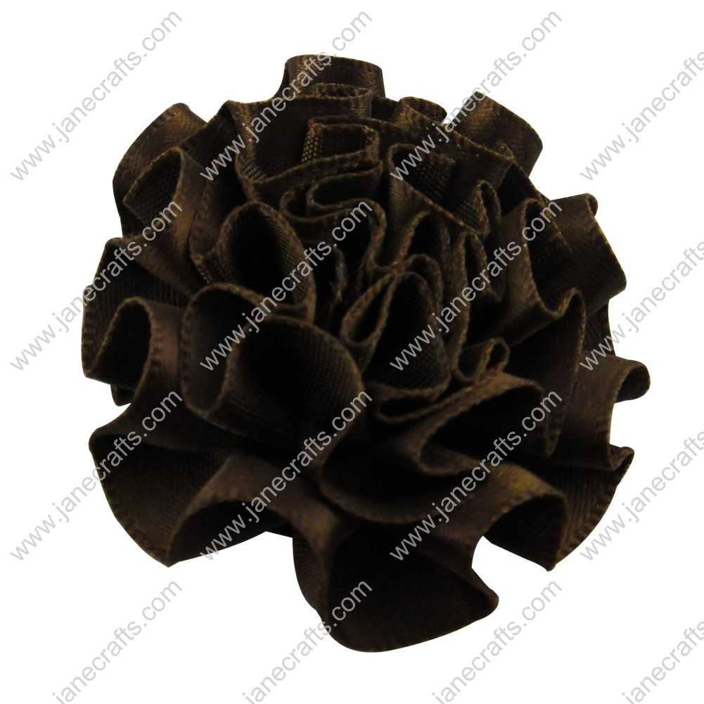 50pcs 2 inch Cabbage Satin Fabric Puff Flowers for Headband-Brown