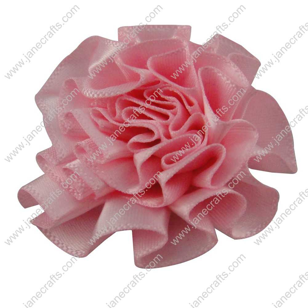 50pcs 2 inch Cabbage Satin Fabric Puff Flowers for Headband-Pink