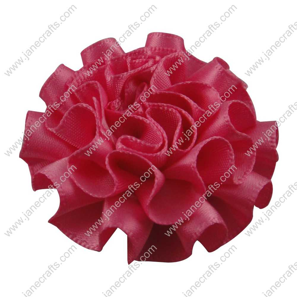 50pcs 2 inch Cabbage Satin Fabric Puff Flowers for Headband-Hot Pink
