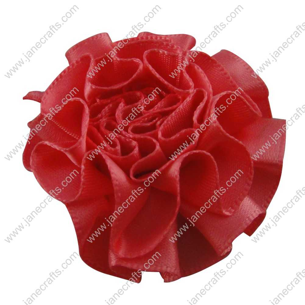 50pcs 2 inch Cabbage Satin Fabric Puff Flowers for Headband-Lt Coral