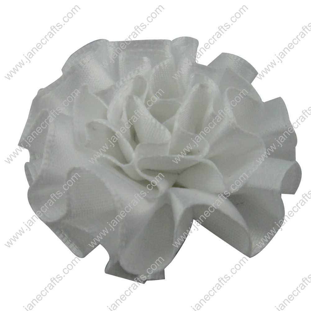 50pcs 2 inch Cabbage Satin Fabric Puff Flowers for Headband-White
