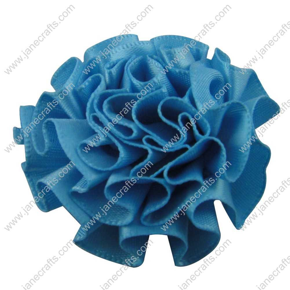 50pcs 2 inch Cabbage Satin Fabric Puff Flowers for Headband-Lt Blue