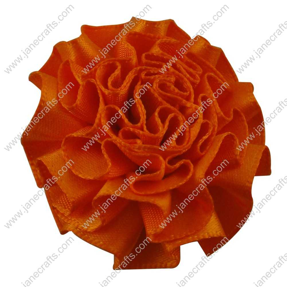 50pcs 2 inch Cabbage Satin Fabric Puff Flowers for Headband-Orange