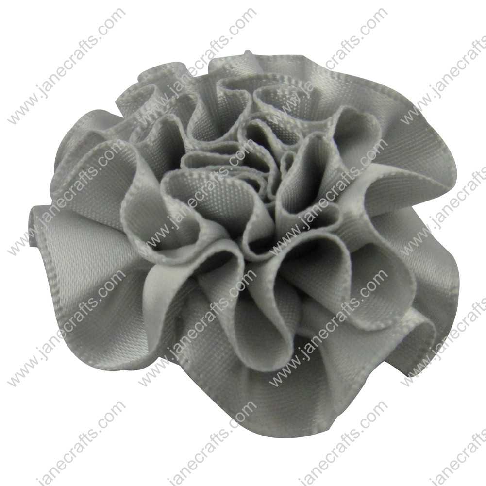 50pcs 2 inch Cabbage Satin Fabric Puff Flowers for Headband-Silver Gray