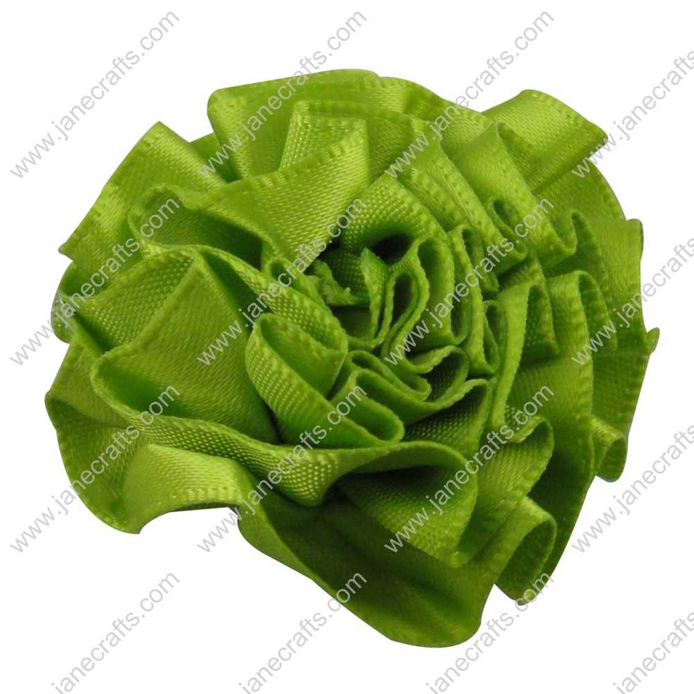 50pcs 2 inch Cabbage Satin Fabric Puff Flowers for Headband-Apple Green