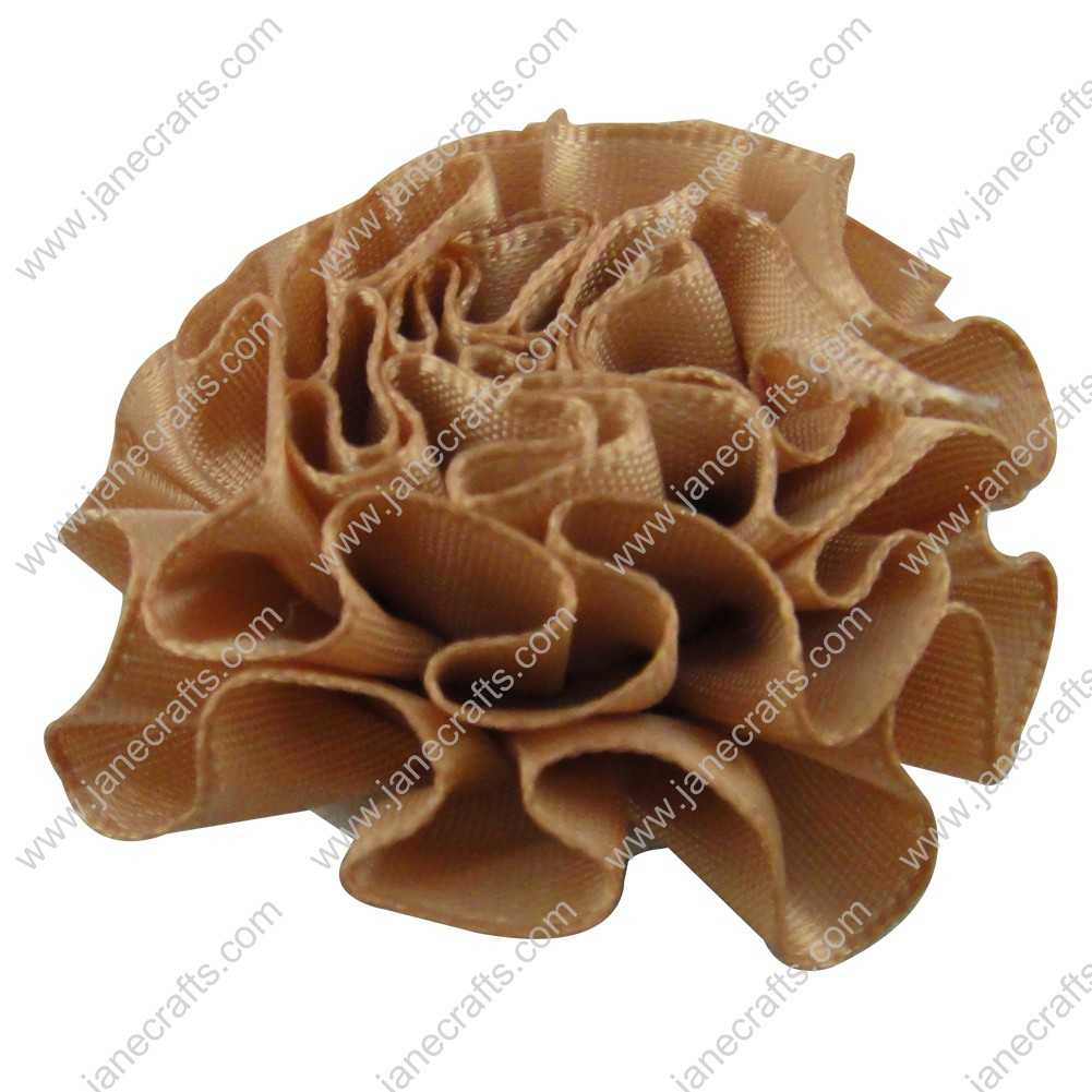 50pcs 2 inch Cabbage Satin Fabric Puff Flowers for Headband-Latte