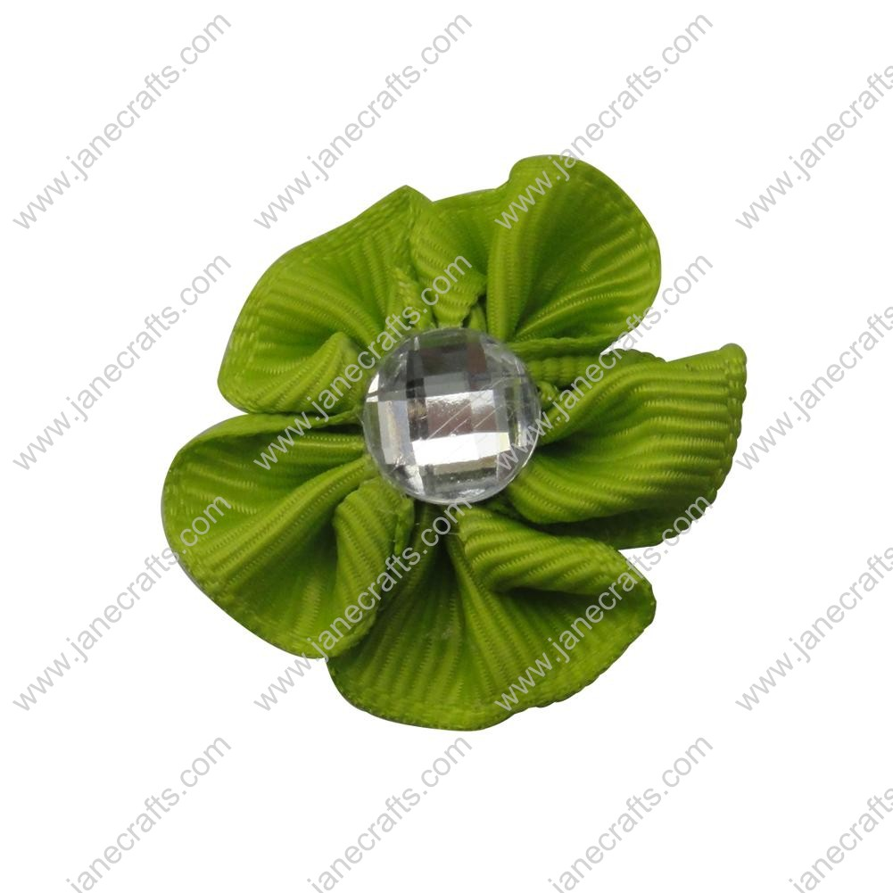 "50pcs 1 1/8"" Grosgrain Ribbon Flower Rhinestone Center-Apple Green"