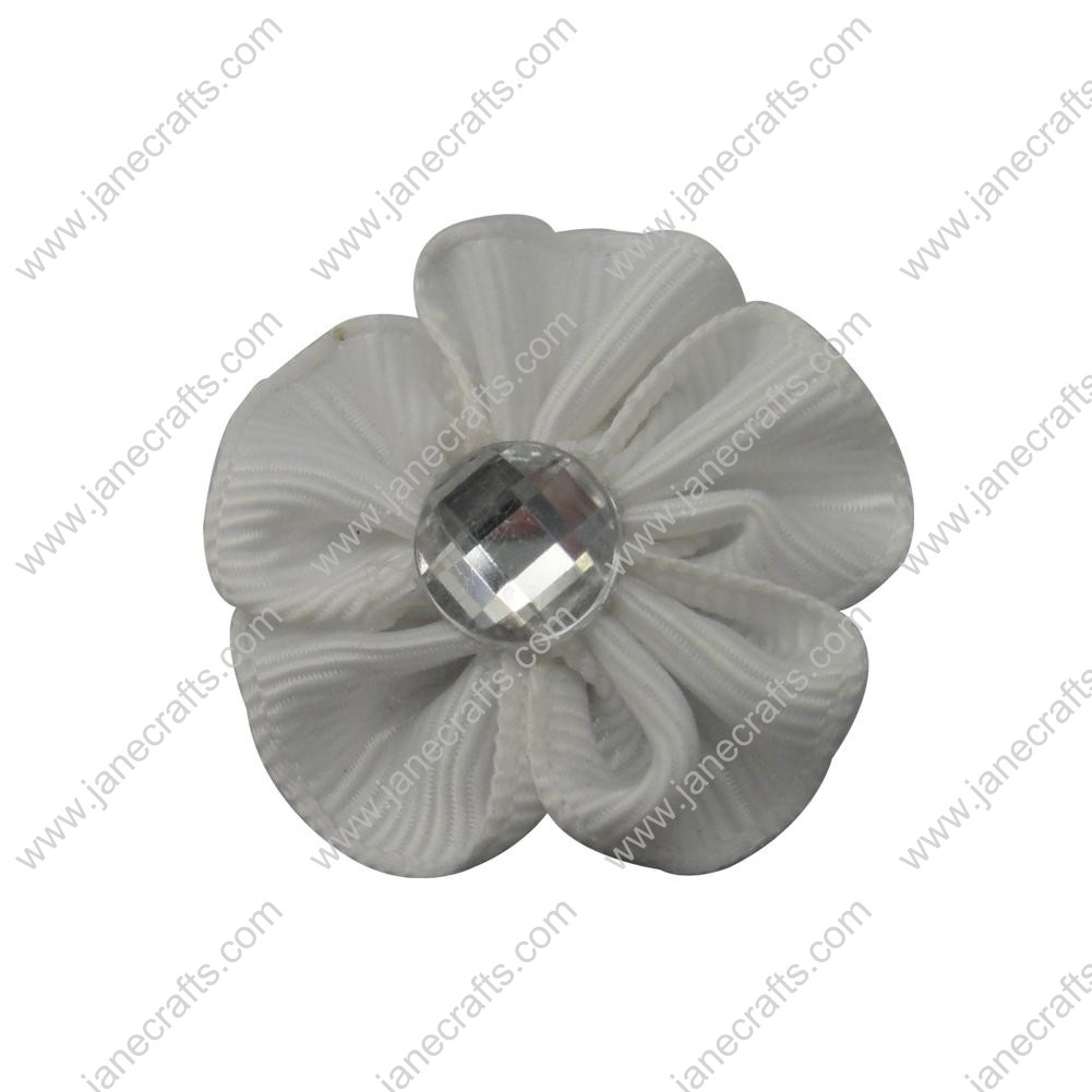 "50pcs 1 1/8"" Grosgrain Ribbon Flower Rhinestone Center-White"