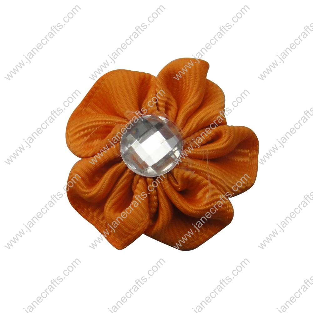 "50pcs 1 1/8"" Grosgrain Ribbon Flower Rhinestone Center-Orange"