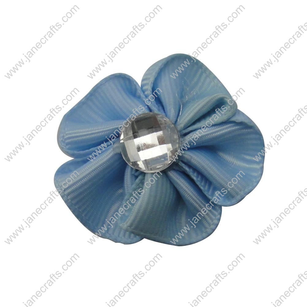 "50pcs 1 1/8"" Grosgrain Ribbon Flower Rhinestone Center-Lt Blue"
