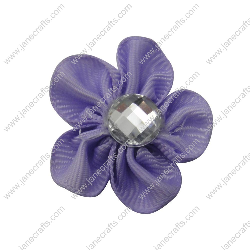 "50pcs 1 1/8"" Grosgrain Ribbon Flower Rhinestone Center-Lt Orchid"