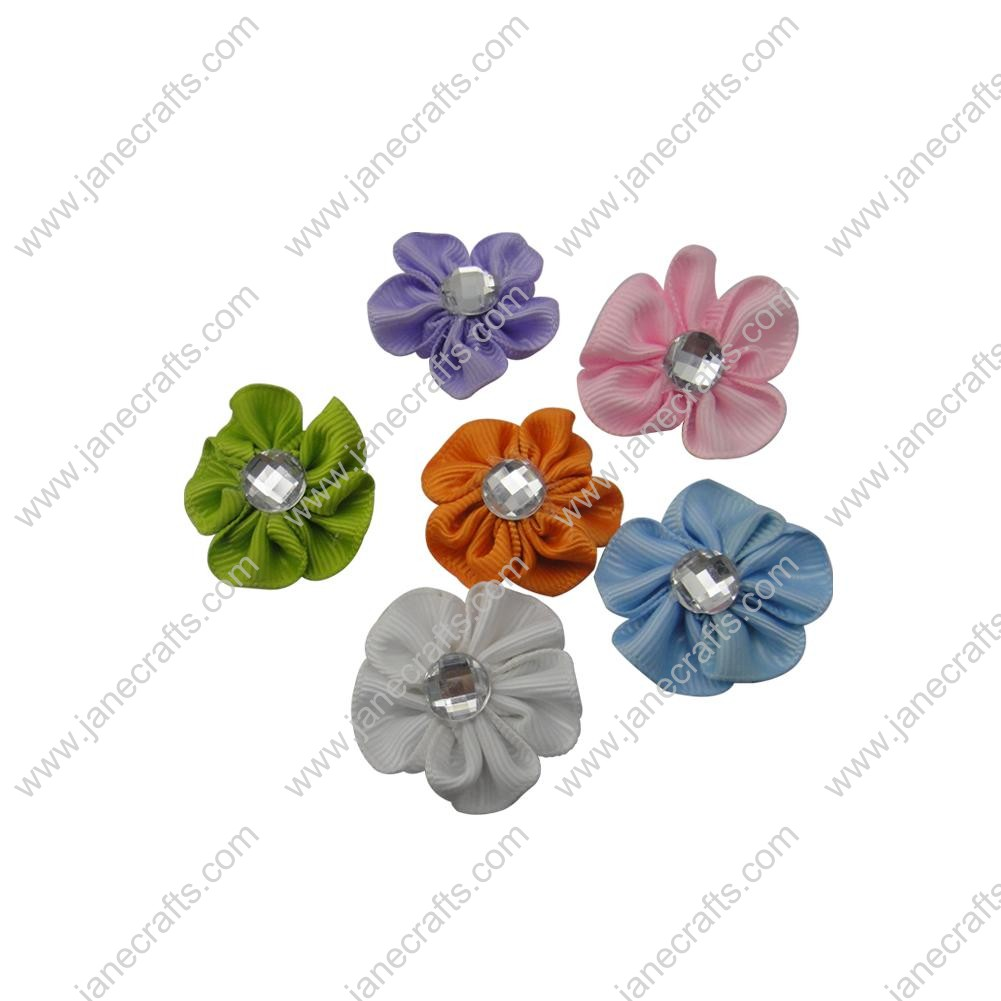 "50pcs 1 1/8"" Grosgrain Ribbon Flower Rhinestone Center-Assorted Color"
