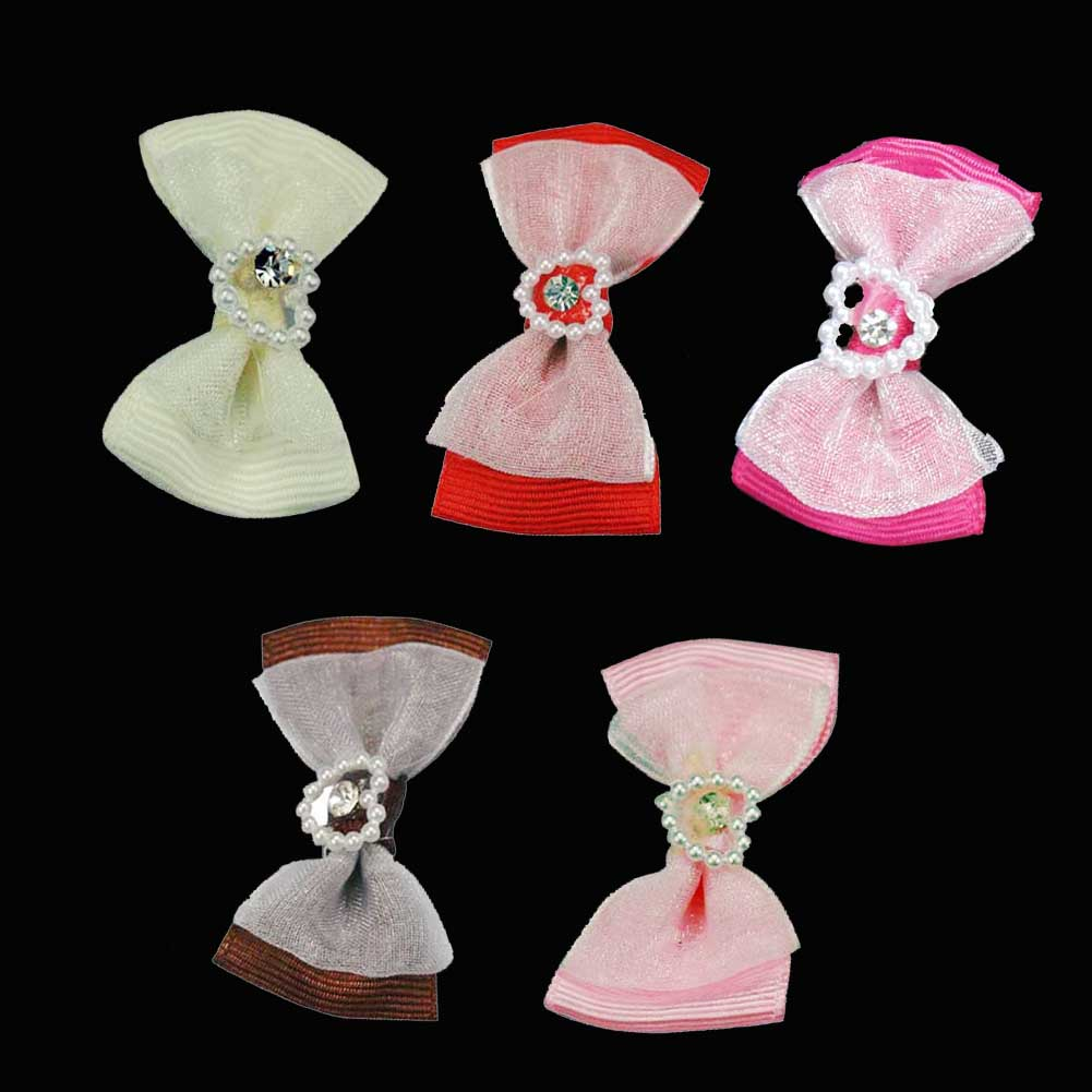 100pcs 40mm Layered Grosgrain Bowtie Bow with heart-shaped Beads and Center Diamonds Mixed 5 Colors