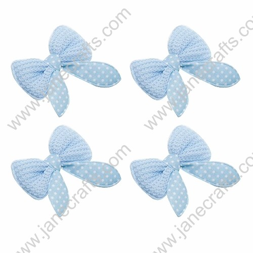60mm Cute Lt.Blue Crochet Bow Polka Dot Center-30pcs