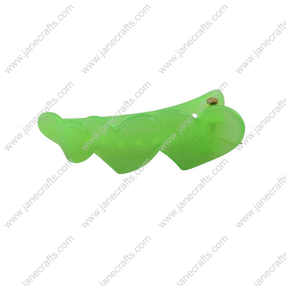 50pcs 51mm Plastic Teeth Hearts Alligator Hair Clips for Girl Green