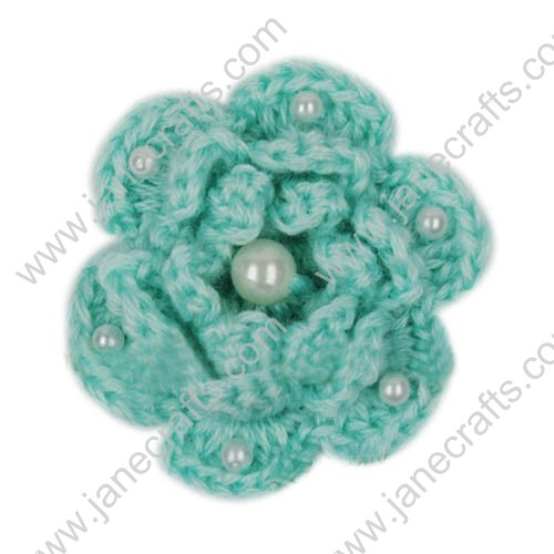 "2 3/8"" Crochet Flower Appliques with Pearl Beads-20PCS"