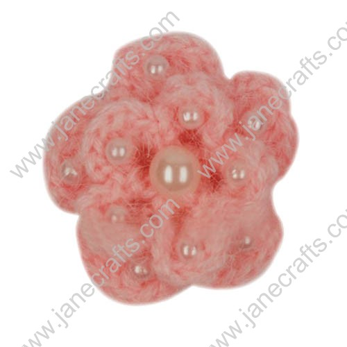 "1 5/8"" Crochet Flower Appliques with Pearl Beads-20PCS"