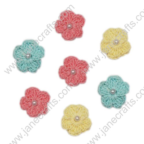 "7/8"" Mini Crochet Flower Appliques with Pearl Beads-30PCS"