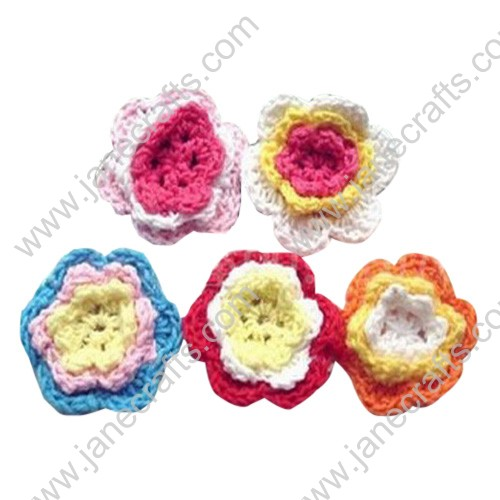 "1 1/4"" Three Layered Crochet Flowers Appliques 50pcs"