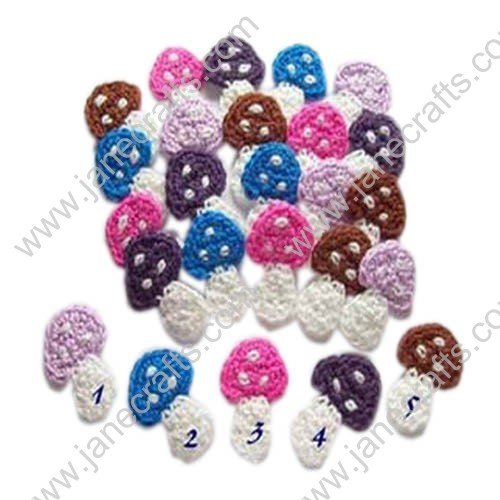 "2"" Cute Small Crochet Mushroom Appliques-30PCS"