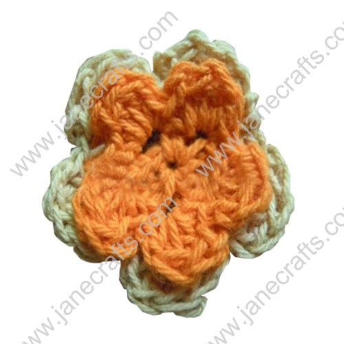 "1"" Double Layered Two Color Crochet Flowers Appliques 50pcs"