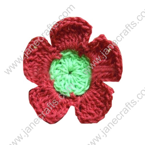 "1 3/4"" Handmade Crochet Flowers Appliques Red with Green 50pcs"