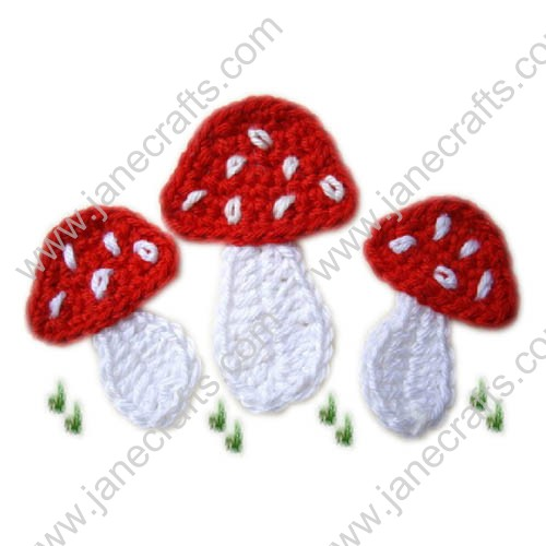 "2 3/8"" Pretty Small Crochet Mushroom Appliques-40PCS"