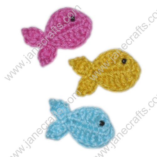 "1 5/8"" Lovely Crochet Fish Appliques at Random Colors-30PCS"