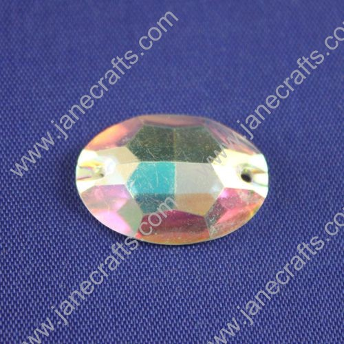 Acrylic Rhinestone,Oval, Flat Back,AB Color,Wide about 23mm High about 16mm,144pcs
