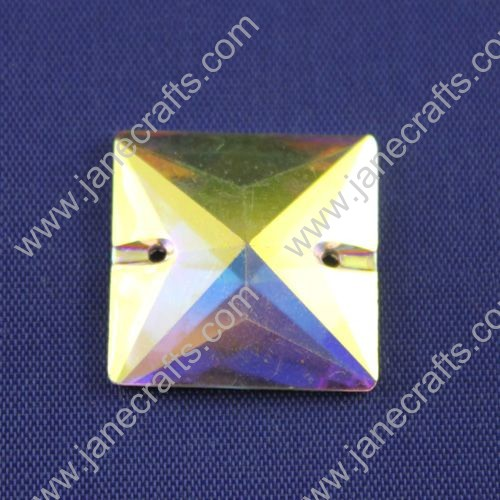 Acrylic Rhinestone,Square, Flat Back,AB Color,Wide about 21mm High about 21mm,144pcs