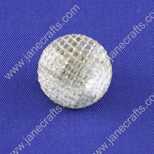 Resin Rhinestone Button,with Golden Mesh,21mm in Diameter,30pcs