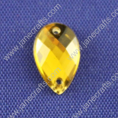 Acrylic Rhinestones,Drop,Flat Back,Yellow,Long about 13mm Wide about 8mm Thick 3mm,144pcs