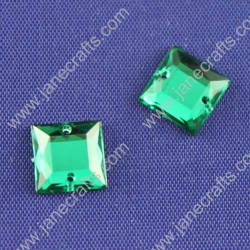 Acrylic Rhinestones,Square,Flat Back,Green,Wide about 10mm High about 10mm Thick 3mm,144pcs