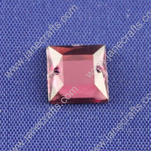 Acrylic Rhinestones,Square,Flat Back,Violet,Wide about 10mm High about 10mm Thick 3mm,144pcs