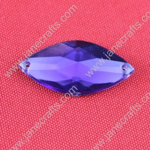 Acrylic Rhinestones,Spindle Shaped,Flat Back,Violet,Wide about 25mm High about 12mm Thick 5mm,144pcs