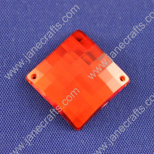 Acrylic Rhinestones,Square,Flat Back,Red,Wide about 18mm High about 18mm Thick 5mm,144pcs