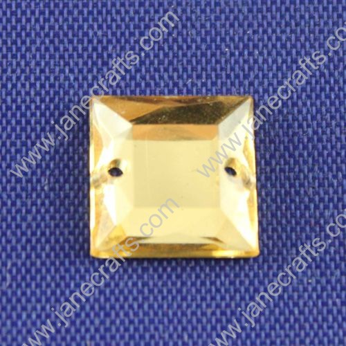 Acrylic Rhinestones,Square,Flat Back,Light Yellow,Wide about 10mm High about 10mm Thick 3mm,144pcs