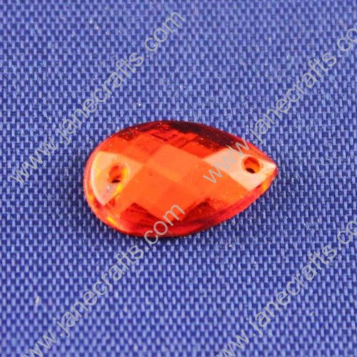 Acrylic Rhinestones,Drop,Flat Back,Red,Wide about 13mm High about 8mm Thick 3mm,144pcs