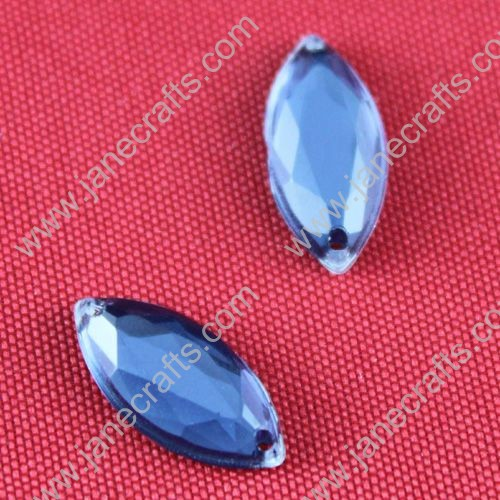 Acrylic Rhinestones,Spindle Shaped,Flat Back,Blue,Wide about 15mm High about 7mm Thick 3mm,144pcs