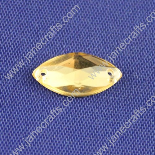 Acrylic Rhinestones,Spindle Shaped,Flat Back,Light Yellow,Wide about 15mm High about 8mm Thick 4mm,144pcs