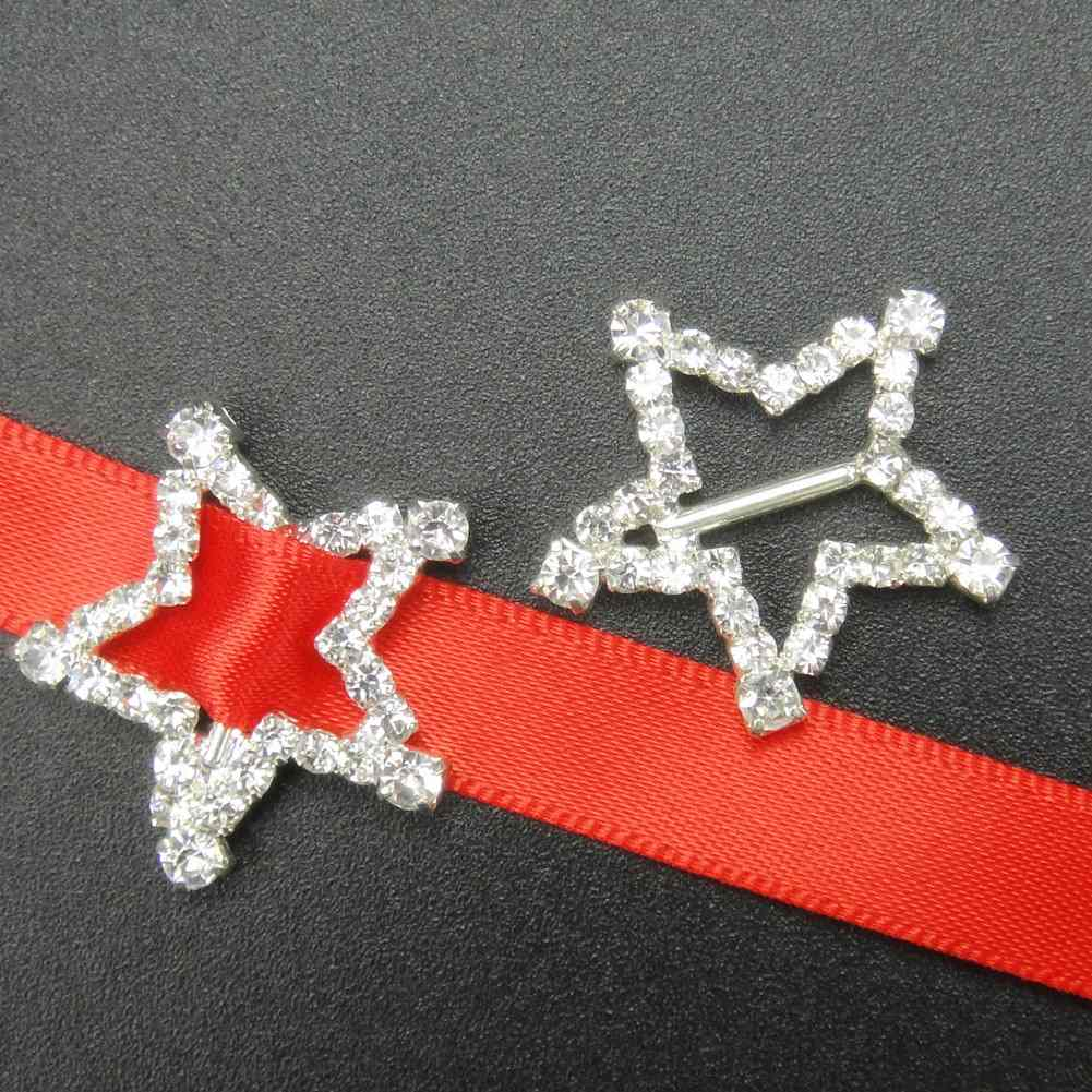 20mm 50pcs Five-Pointed Star Rhinestone Buckle Invitation Ribbon Slider For Wedding Craft Supply Silver Color