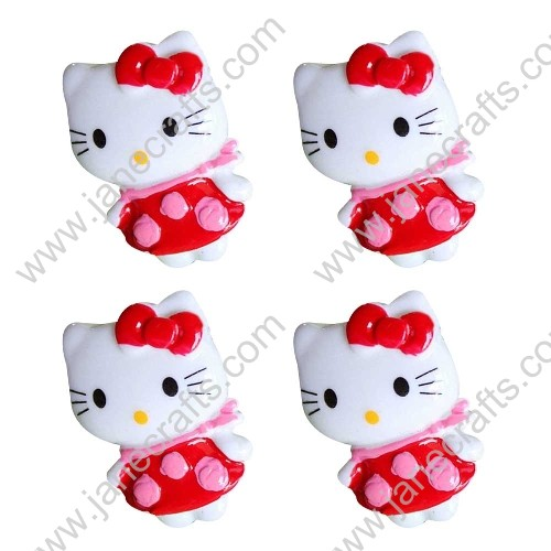 40pcs Resin Hello Kitty Red Skirt Pink Scarf Flat back Scrapbooking Hair Bow Center Crafts DIY
